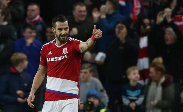 Álvaro Negredo durante su cesión en el Middlesbrough /REUTERS