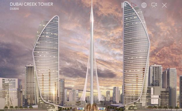 Figuración virtual de la Dubai Creek Tower. /Despacho de Santiago Calatrava