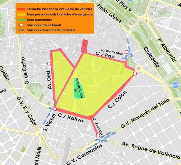 Mapa Fallas Valencia 2019.Mascleta Fallas Calles Cortadas En Valencia Por Las