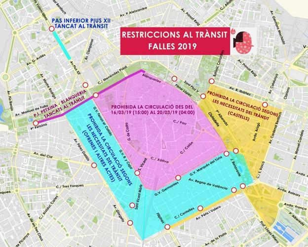 Mapa Zona Azul Valencia.Trafico En Valencia El Mapa De Los Cortes De Calles En Valencia Durante Las Fallas 2019 Las Provincias