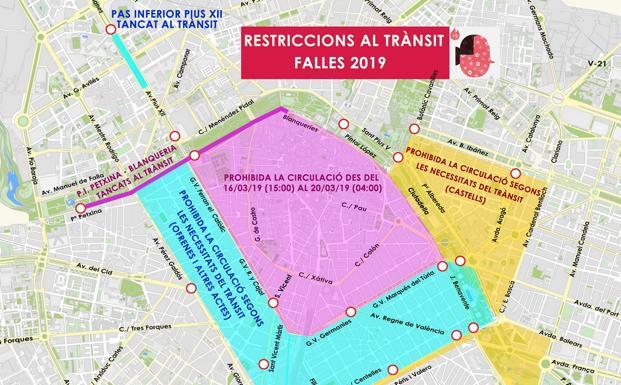 Mapa Fallas Valencia 2019.Trafico En Valencia El Mapa De Los Cortes De Calles En