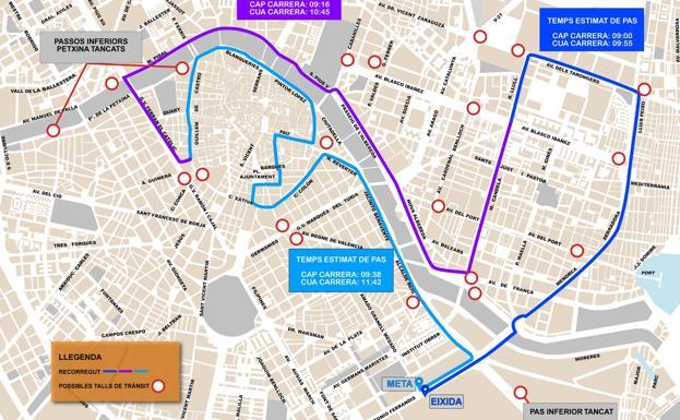 Mapa Fallas Valencia 2019.Calles Cortadas En Valencia Por El Medio Maraton 2019 Las