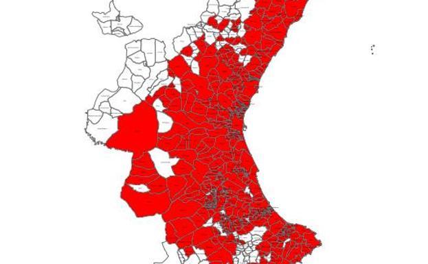 Mapa del mosquito tigre en la Comunitat Valenciana: Los municipios más afectados