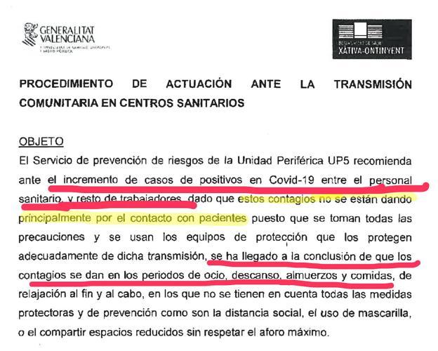 Recomendaciones. Parte del documento remitido por la gerencia del departamento de salud de Xàtiva-Ontinyent a personal sanitario.